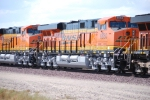 BNSF 6650 and BNSF 6648 make the turn as they slow down for a crew change at the BNSF Barstow yard.