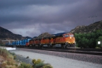 BNSF 7607 pulls the grade near Sullivan's Curve as the weather starts to get worse as she rolls east.
