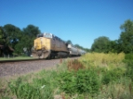 UP 6450 DPU on eastbound UP loaded grain train