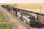 Side by side southbound loaded coal train
