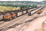Loaded coal trains dominate the yard