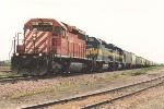 Grain train rolls slowly east