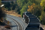 BNSF 6144, GE ES44AC, heads west with coal empties