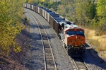 BNSF 6101, GE ES44AC, DPU remote unit shoving at the rear of a westbound coal empty