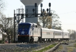 RNCX 1755 leads train 73 south under the signals at Aycock