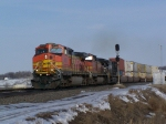 BNSF 4793 Leads a Hot Z Train West Out of Town