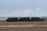 Eastbound Grain Train on the DMVW Headed to Flaxton for Interchange with the CP