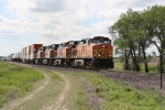 BNSF 5211 Roars Past with Containers and Trailers in Tow