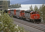 CN 5307 heads west past Yellowhead Lake on CN's Albreda sub
