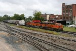 BNSF powered EB going by remaining red brick buildings