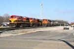 SB coal train going by the grain train