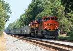 BNSF 9386 with SB coal train with no crew