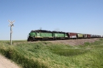 BNSF 2756 Leads a Local West to Tioga and Ray