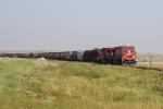 CP 8745 Brings a Grain Train Through a Curve