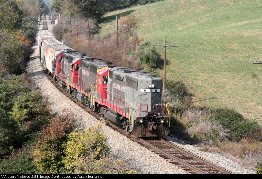 BBRR # 6, with Steve Nicely at the throttle cants the curve eastbound getting closer to Staunton