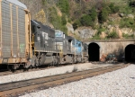 NS 23G, bound for Roanoke, is about to enter the recently enlarged Montgomery tunnel portal