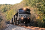 A Roanoke bound coal train, with 4 units, rumbles by on the old Virginian main