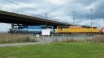 GMTX 9013 & UP 4299 pull 4 New ES44AC's through Bison Yard