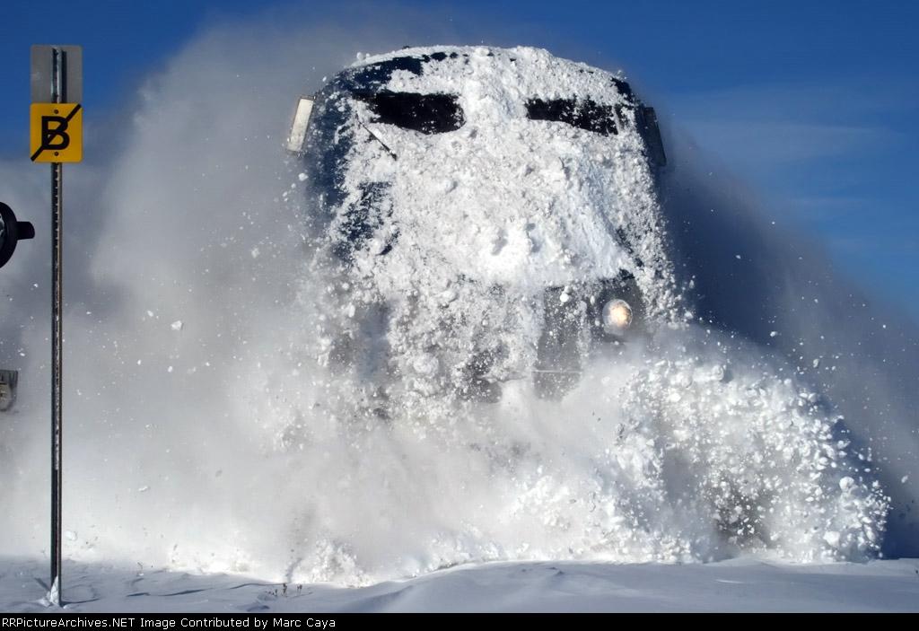 Snowplowing Amtrak