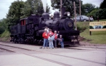 Family portrait next to CASS Scenic Railroad Shay #3