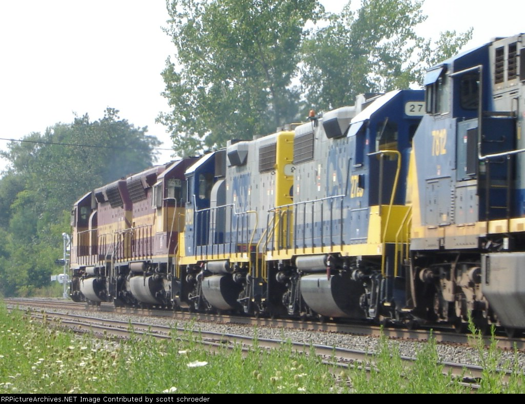 2 WC's and 3 CSX's approaching NYS Route 250 on #2 Track