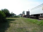 "WB Intermodal approaching grade crossing on ""West Shore Branch"". Look closely there is an EB on the #1 Track!!"