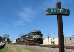 NS 7502 passing the Austell station sign