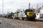 CSX 2805 & 6083 slowly moving gravel train east