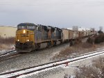 CSX 753 & 4763 slowly lead G985-30 out of the siding at Fox