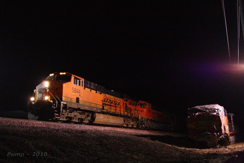 Westbound BNSF Empty Coal Train Passing Derailment Scene