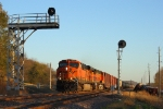 Westbound BNSF Mixed Freight Train Passing Derailment Scene