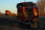 Westbound BNSF Empty Coal Train Passing Derailment Scene