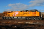 Eastbound UP Intermodal Train DPU Locomotive - UP 7400 Pink Ribbon Locomotive