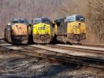 CSX 739, CSX 525, CSX 4756 leading southbound coal trains, Shelby yard,