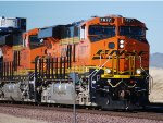 Zoom in shot of A still Very Clean BNSF 7877 with BNSF 6631 as the # 2 unit in this Hot Z-Train rolling eastbound.