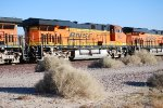 BNSF 6620 with BNSF 6627 ahead of her roll eastward into the BNSF Barstow yard for a crew change.