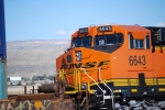 Close and almost in the Cab as BNSF 6643 A New ES44C4 rolls west as a rear DPU on a Hot Z.