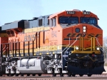 Up close shot of a still Very Clean BNSF 6642 as she pulls a Bear Table load (empty spine cars) eastbound towards a crewchange at BNSF Barstow yard,