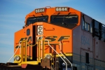 BNSF 6644 close up as she waits to roll eastbound as a # 2 unit on a empty spinecar train.