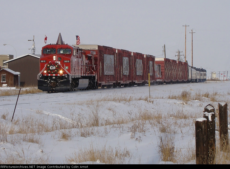 CP 9815 makes its scheduled stop at Didsbury with the CP Holiday Train on a bitterly cold winters day
