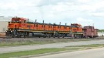 BNSF 1222 and 1247 with caboose shoving platform