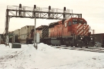 Westbound intermodal behind two old vets