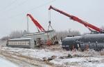 Crews work to rerail cars at CNs Scotford yard