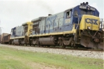 CSX 5815 with a transfer of loads of sand