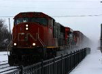 CN 5706 leads the first train of the day