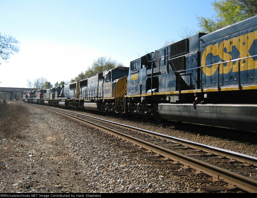 Rear shot of FXE and FXE leased CSX units on CSX Q601 waiting on crew on #1 main.