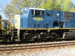 Detail shot of CSXT  SD80MAC on Q601 as it heads to Mexico in lease service