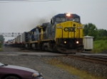 CSX 7348 leading a WB TOFC over the Atridge Rd. Xing