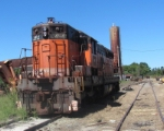 Hartwell railroad, former B & LE engine rusting in the sun