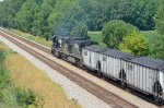 NS Sd60 6606 grinds slowly toward Columbus, OH with coal loads.